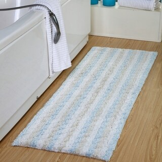 "Oversized Stripe Cotton Textured Bath Rug 22"" x 60"" - 22 x 60"