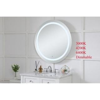 Indigo Home Avalon Silver Metal 36-inch Diameter Hardwired LED Mirror