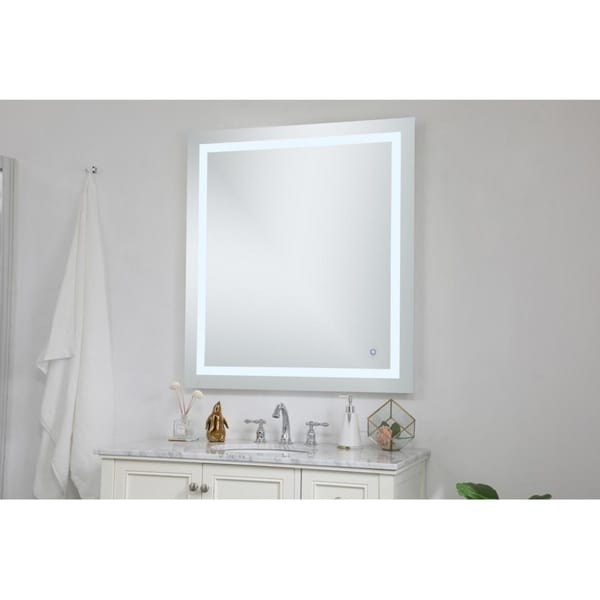 Indigo Home Avalon Silvertone Metal Frame 36 x 40-inch Hardwired LED Mirror