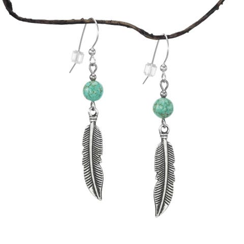 Handmade Jewelry by Dawn Turquoise Magnesite Curved Pewter Feather Earrings (USA)