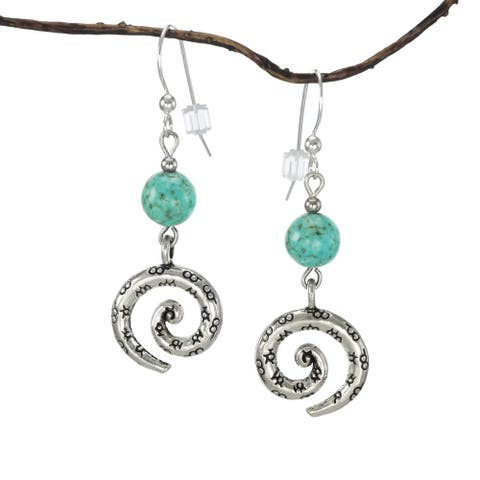 Handmade Jewelry by Dawn Turquoise Magnesite Pewter Swirl Earrings (USA)