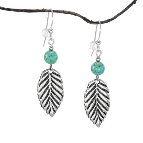 Jewelry by Dawn Turquoise Magnesite Antique Pewter Leaf Earrings (USA)