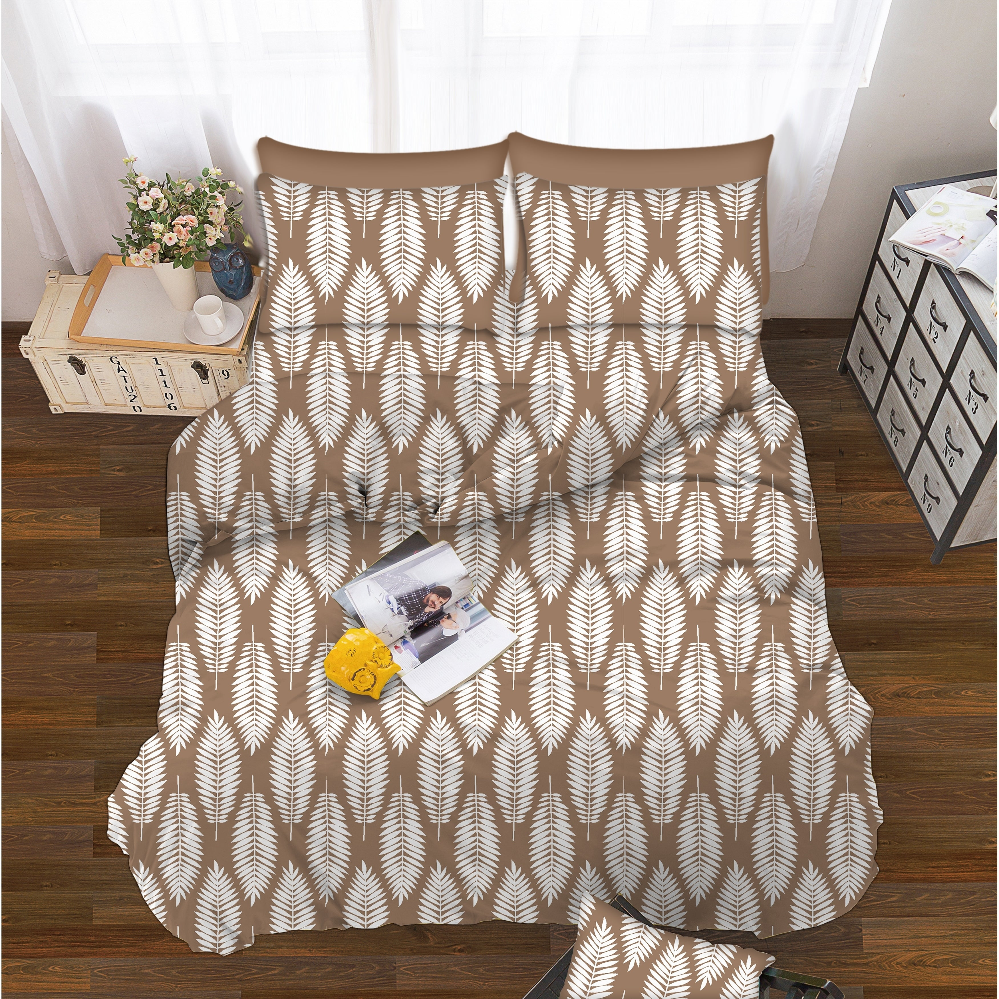 Shop Elegant Comfort 6 Piece Feather Pattern Bed Sheet Set   On Sale   Free  Shipping On Orders Over $45   Overstock   26975683