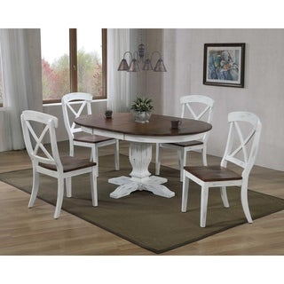 """""""Iconic Furniture Company 45""""x 45""""x 63"""" Transitional Distressed Cocoa Brown/Cotton White X-Back 5-Piece Dining Set"""""""