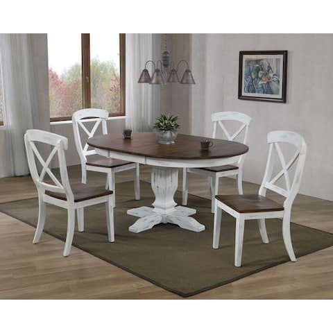 """Iconic Furniture Company 45""x 45""x 63"" Transitional Distressed Cocoa Brown/Cotton White X-Back 5-Piece Dining Set"""