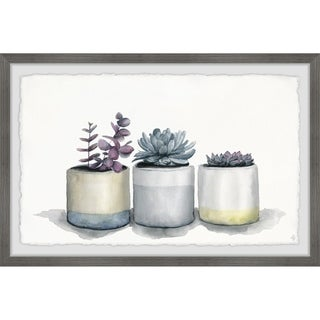 Marmont Hill - Handmade Three Potted Succulents II Framed Print
