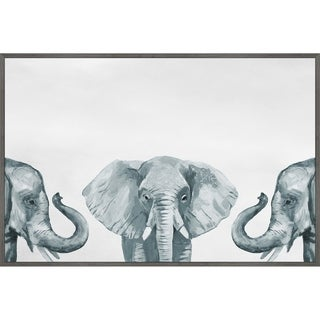 Marmont Hill - Handmade Elephant Poses III Floater Framed Print on Canvas