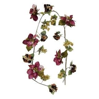 6ft Velvet Poinsettia, hydrangea and berry garland