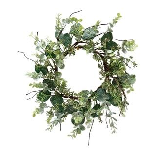 Mica Boxwood and eucalyptus mini wreath