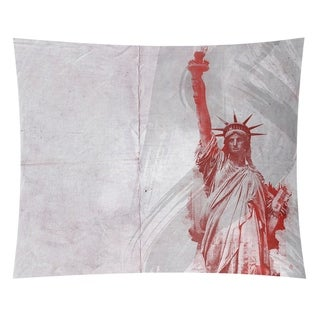 David Khieu Red Watercolor Statue of Liberty Wall Tapestry - 26 x 36