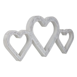 Gallery Solutions Large White Triple Heart Wood Cut Out Word Wall Decor
