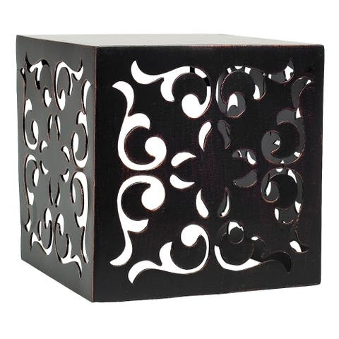 Burnes of Boston Pierced Floral Venetian Metal Floating Cube Shelf Display, Bronze