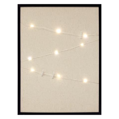 Gallery Solutions Black Burlap Pinboard with Photo Clip Firefly String Lights