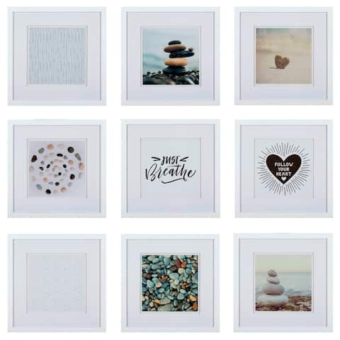 Gallery Perfect Set of 9 Piece Square Photo Frame with Double White Mat Wall Gallery Kit