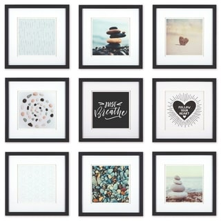 Link to Gallery Perfect Set of 9 Piece Square Photo Frame with Double White Mat Wall Gallery Kit Similar Items in Decorative Accessories