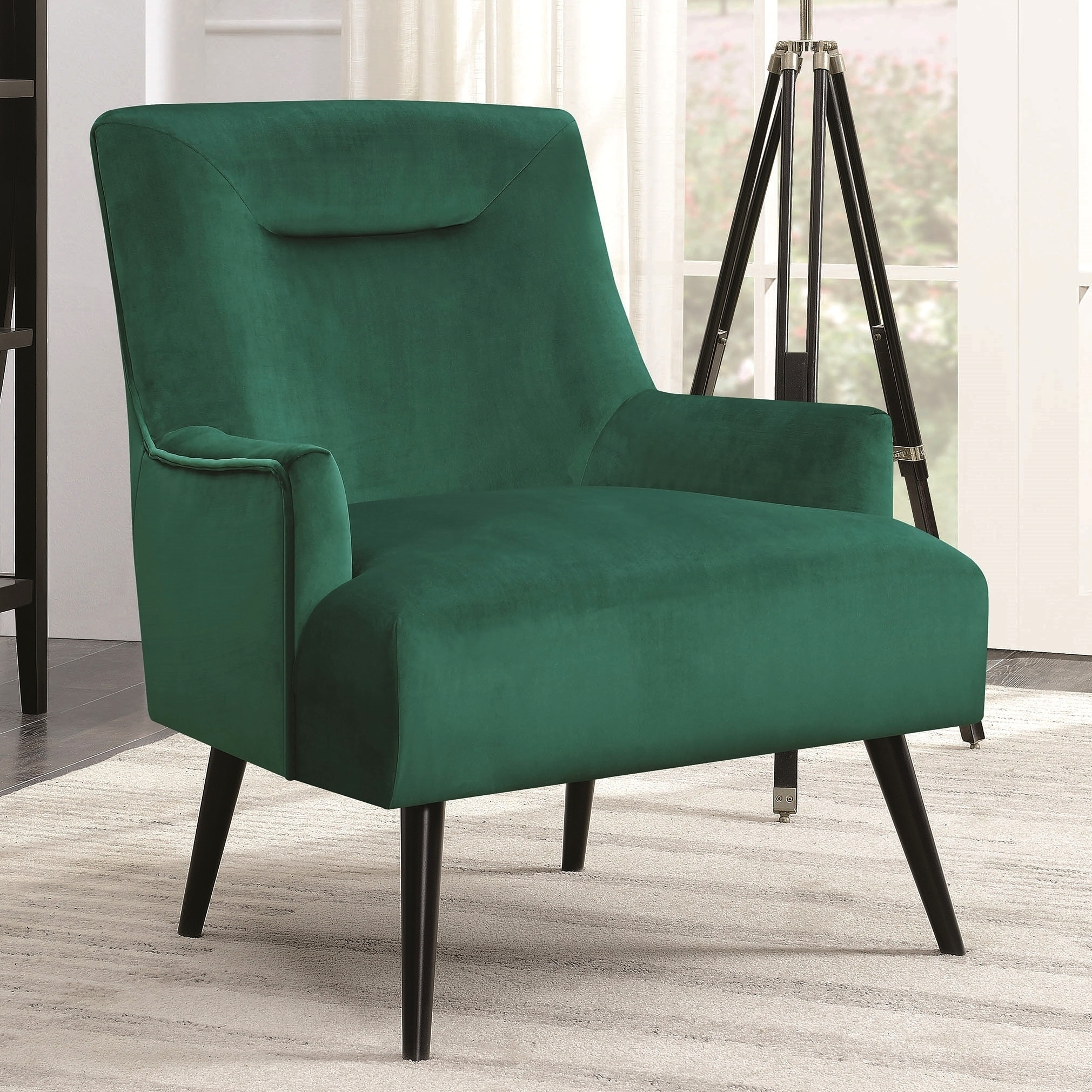 Green Velvet Wood Modern Mid Century Design Living Room Accent Chair