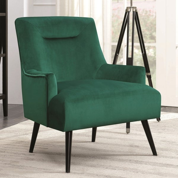 Shop Green Velvet Wood Modern Mid Century Design Living