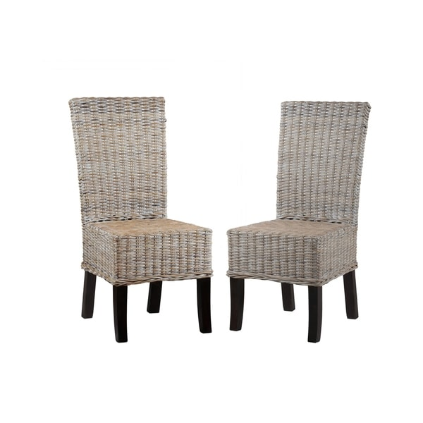 Catalina Rattan and Solid Mahogany Coastal Dining Chairs (Set of 2)  sc 1 st  Overstock.com & Shop Catalina Rattan and Solid Mahogany Coastal Dining Chairs (Set ...