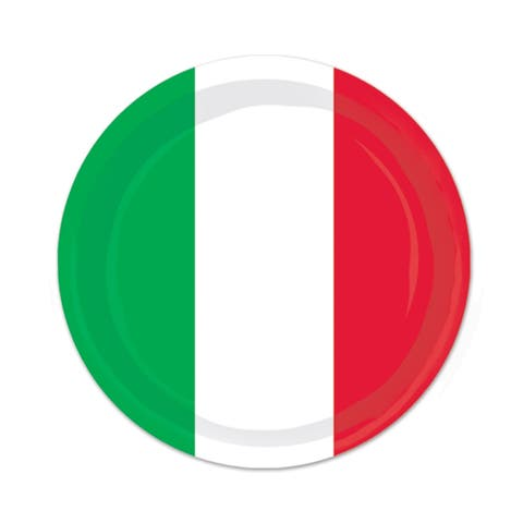"""Beistle 7"""" Red, White and Green Fiesta Party Tableware Plates - 12 Pack (8/Pkg)"""