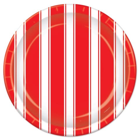 "Beistle 9"" Red and White Stripes Circus Themed Party Plates - 12 Pack (8/Pkg)"
