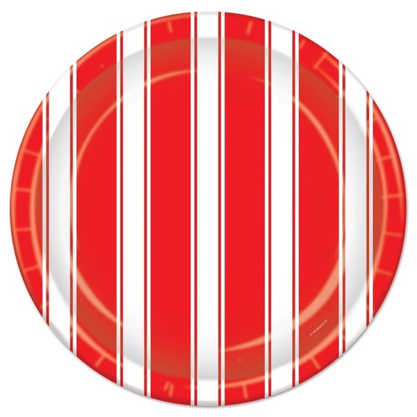 "Beistle 9"" Red and White Stripes Circus Themed Party Plates - 12 Pack (8/Pkg). Opens flyout."