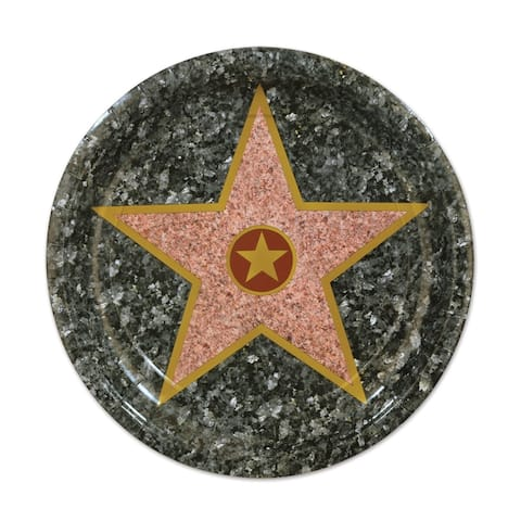 """Beistle 7"""" Awards Night """"Star"""" Party Tableware Plates - 12 Pack (8/Pkg)"""