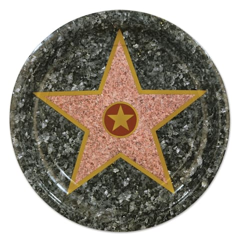 """Beistle 9"""" Awards Night Party """"Star"""" Plates - 12 Pack (8/Pkg)"""