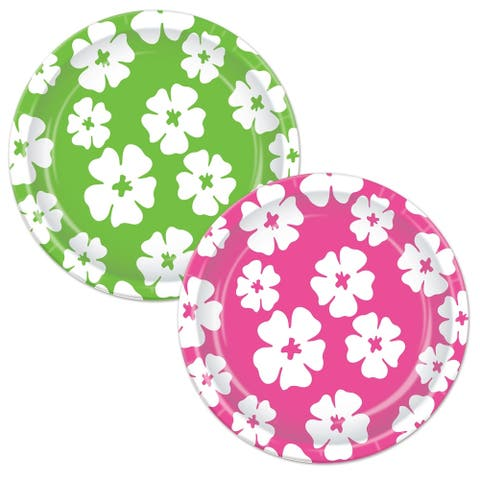"Beistle 7"" Assorted Cerise and Lime Green Luau Party Hibiscus Plates - 12 Pack (8/Pkg)"