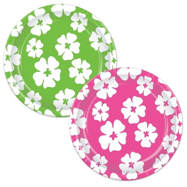 """Beistle 7"""" Assorted Cerise and Lime Green Luau Party Hibiscus Plates - 12 Pack (8/Pkg). Opens flyout."""