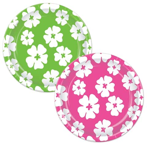 """Beistle 7"""" Assorted Cerise and Lime Green Luau Party Hibiscus Plates - 12 Pack (8/Pkg)"""