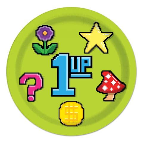 """Beistle 9"""" 8-Bit Themed Party Tableware Plates - 12 Pack (8/Pkg)"""