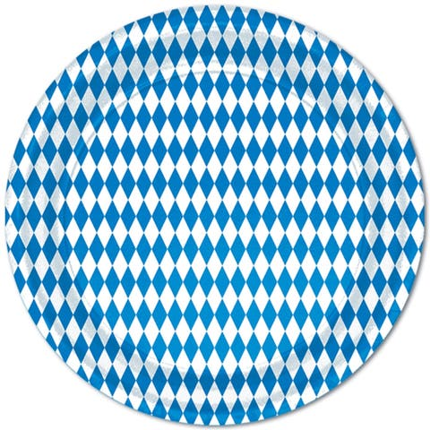 """Beistle 9"""" Blue and White Oktoberfest Party Tableware Plates - 12 Pack (8/Pkg)"""