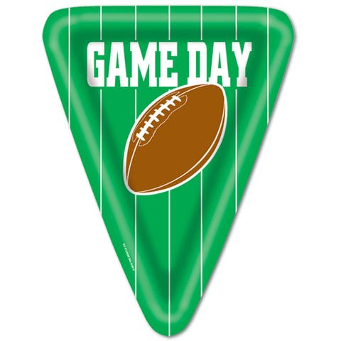 """Beistle 10"""" Triangular Shaped Football Game Day Party Tableware Plates - 12 Pack (8/Pkg)"""
