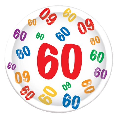 """Beistle 9"""" Birthday Themed """"60"""" Party Tableware Plates - 12 Pack (8/Pkg)"""