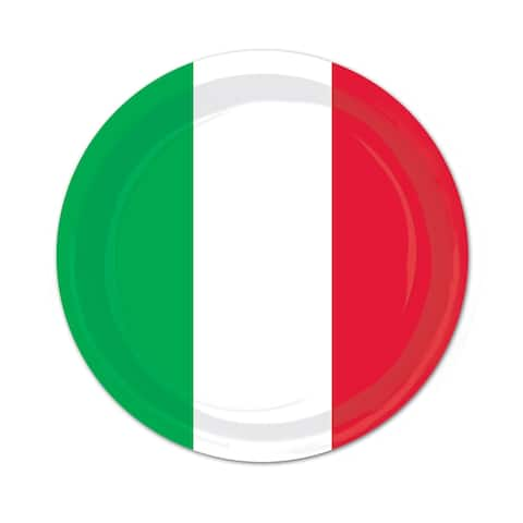 """Beistle 9"""" Red, White and Green Fiesta Party Tableware Plates - 12 Pack (8/Pkg)"""