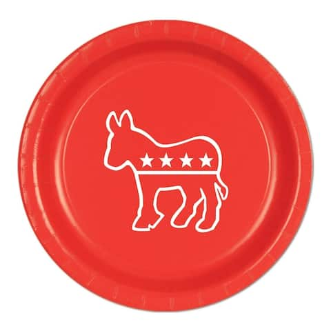 """Beistle 9"""" Democratic Themed Party Tableware Plates, Red - 12 Pack (8/Pkg)"""
