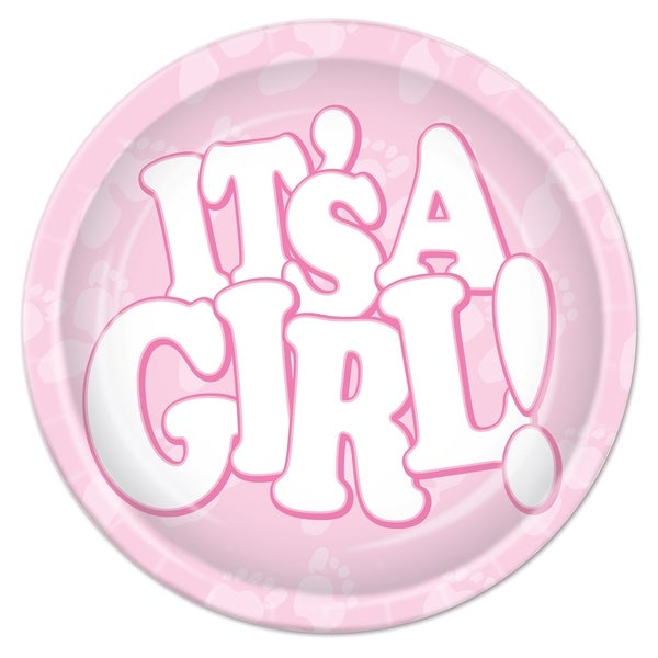 """Beistle 9"""" Baby Shower Party It's a Girl Plates - 12 Pack (8/Pkg). Opens flyout."""