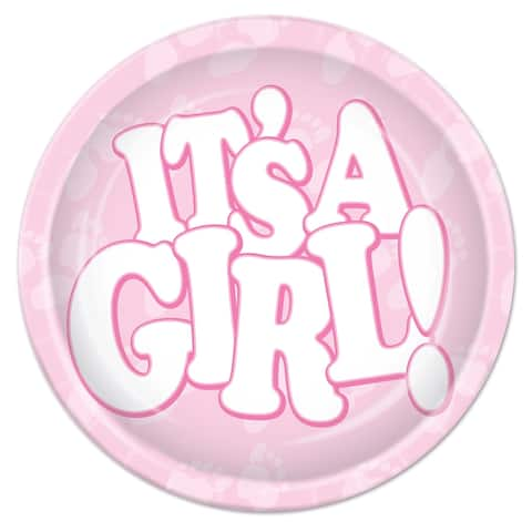 """Beistle 9"""" Baby Shower Party It's a Girl Plates - 12 Pack (8/Pkg)"""