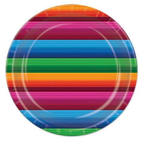 """Beistle 9"""" Fiesta Themed Party Tableware Plates - 12 Pack (8/Pkg)"""
