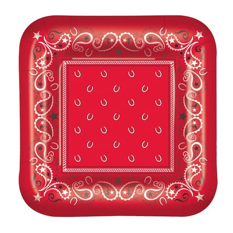 """Beistle 9"""" Square Shaped Bandana Party Tableware Plates - 12 Pack (8/Pkg)"""