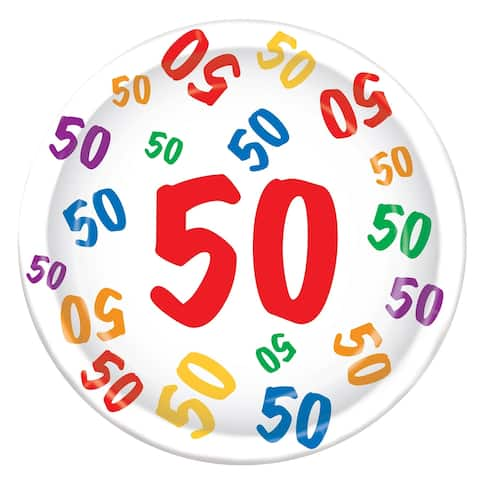 """Beistle 9"""" Birthday Themed """"50"""" Party Tableware Plates - 12 Pack (8/Pkg)"""