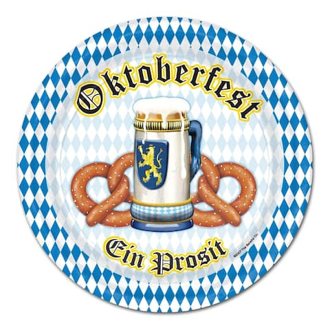 "Beistle 9"" Oktoberfest Party Tableware Plates - 12 Pack (8/Pkg)"