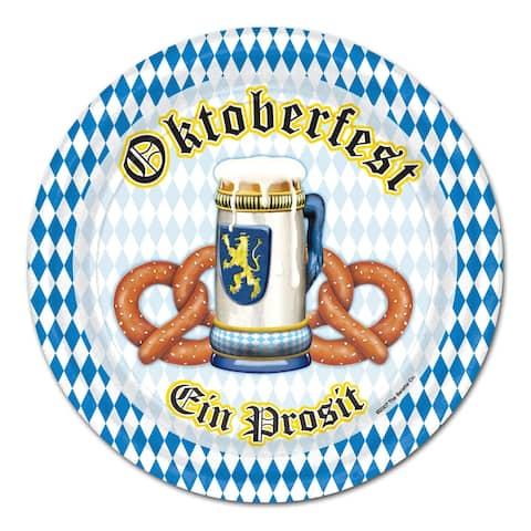 "Beistle 9"" Oktoberfest Party Tableware Plates - 12 Pack (8/Pkg)"