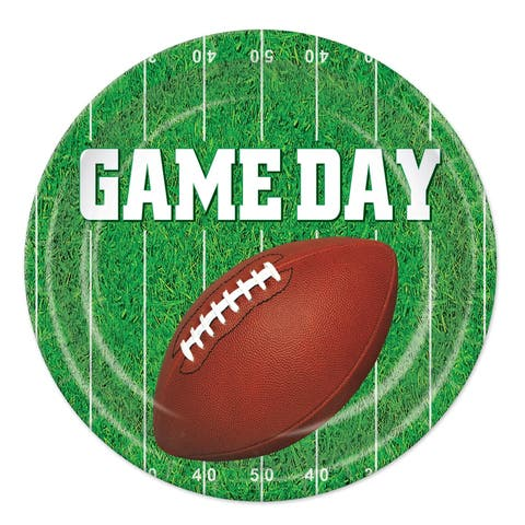 """Beistle 9"""" Game Day Football Themed Party Plates - 12 Pack (8/Pkg)"""