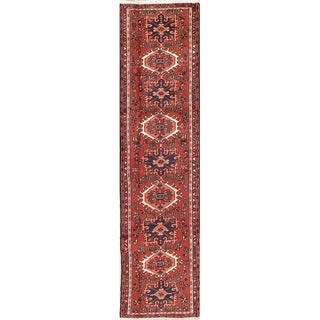 "Gharajeh Geometric Hand Made Wool Persian Rug - 9'4"" x 2'4"" Runner"