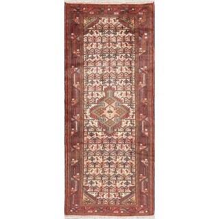 """Vintage Hamedan Geometric Handmade Wool Persian Rug - 6'6"""" x 2'9"""" Runner"""