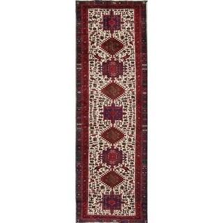 """Vintage Gharajeh Geometric Handmade Wool Persian Rug - 9'6"""" x 3'0"""" Runner"""