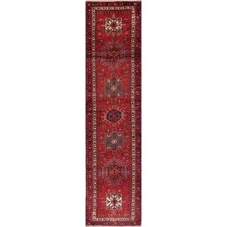 """Vintage Gharajeh Geometric Handmade Wool Persian Rug - 14'0"""" x 3'6"""" Runner"""