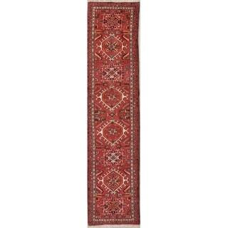 """Vintage Gharajeh Geometric Handmade Wool Persian Rug - 9'9"""" x 2'4"""" Runner"""