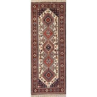 "Gharajeh Geometric Hand Made Wool Persian Rug - 6'5"" x 2'5"" Runner"